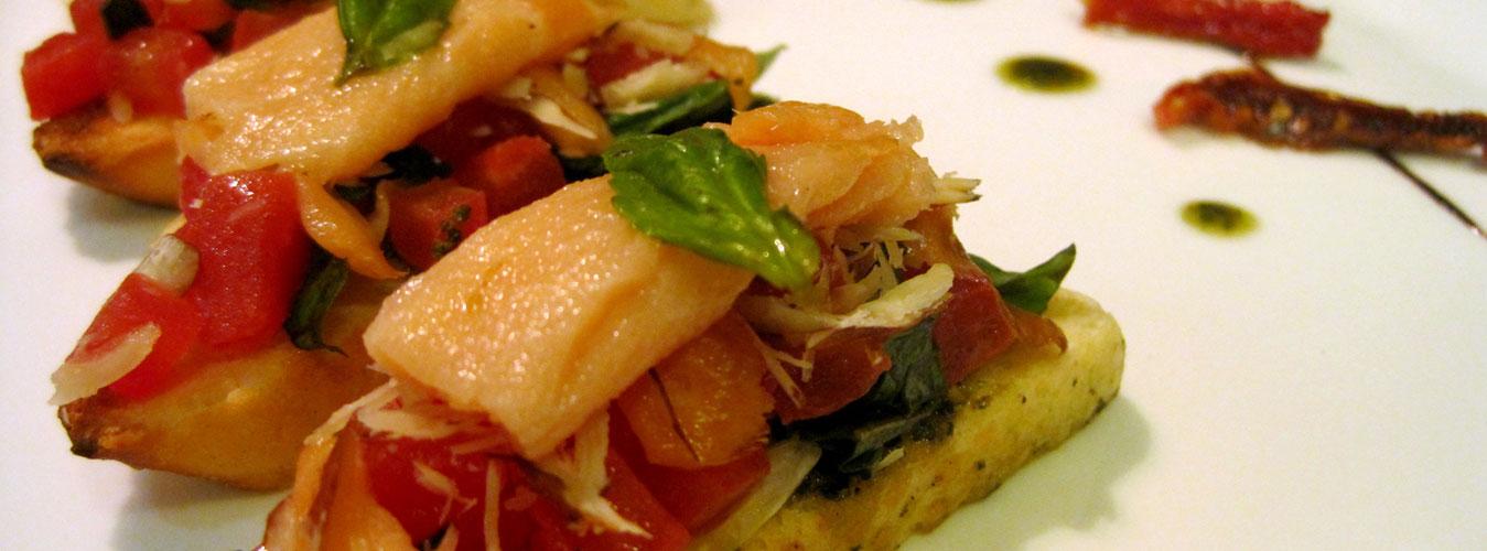 Smoked Salmon and Basil Pesto Bruschetta