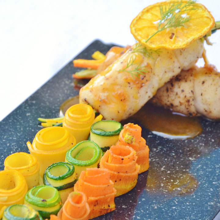 Pan Seared Sea Bass, Pommery Tossed Vegetables