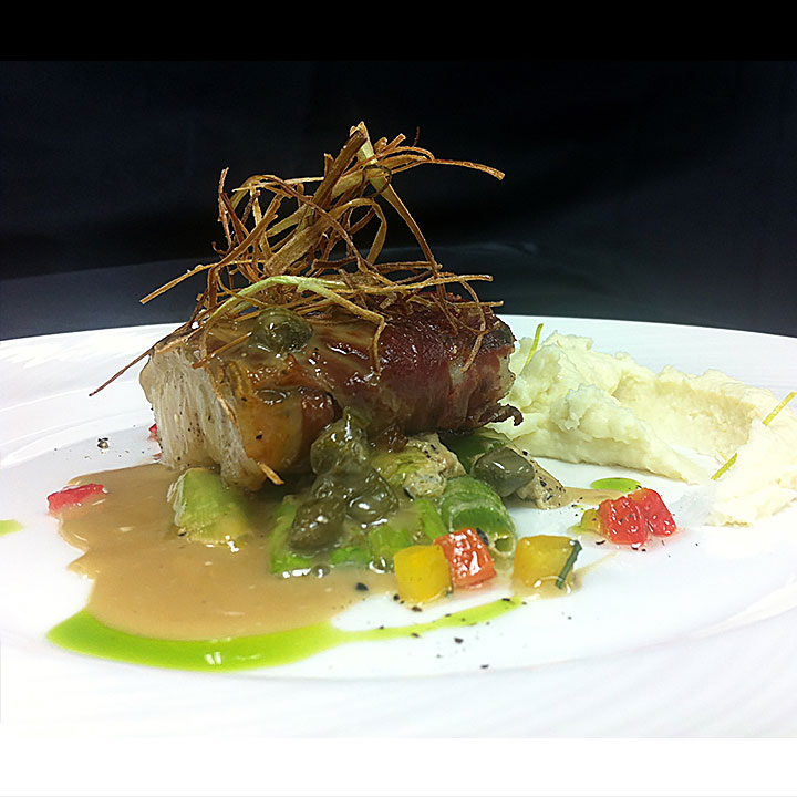 Parma wrapped seabass