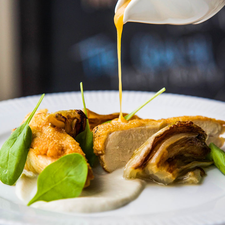 Himalayan Salt Baked Chicken Breast, Cider Butter, Jerusalem Artichoke Puree